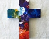 ORIGINAL CROSS, Artist's Palette, Colorful Cross, Decorative Cross, OOAK Cross, Painters Gift, Christian Gift