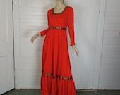 60s Renaissance Dress in Scarlet Red- 1960s / 70s Hippie / Boho / Festival- Empire Waist