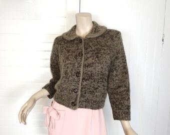60s Cardigan Sweater in Driftwood- 1960s Peter Pan Collar- Light Brown / Beige