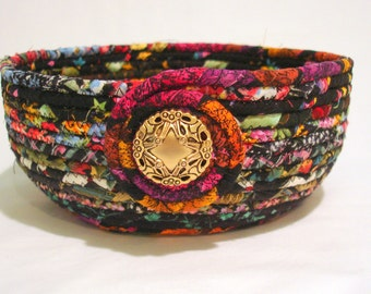 Midnight Garden Coiled Fabric Bowl