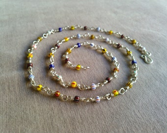 handmade sterling silver chain with glass trade beads