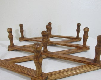 Accordion Peg Rack Stained Oak Wood