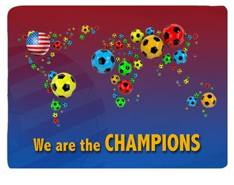 USA Soccer World Map  Football  World Map Rug We are the champions  Sport Rug Size 48x30, 60x48, 96x44, 96x60