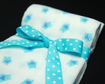 2 Gauze Spit Cloths, Cotton Trifolds, Gauze Burpcloths, Baby Boy Gift, Boy Shower Gift, Owl Spitcloths, Lightweight Gauze, Double Gauze