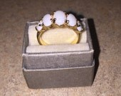 Vintage Opal Ring Heavy Gold Electroplate Ring Size 5