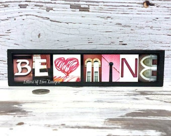 Valentines Day Decor Gift, Be Mine Wood Sign, Pink and Red Sign, Pink Heart, Be My Valentine, Kiss Me, I Love You, Love Sign, February Decor