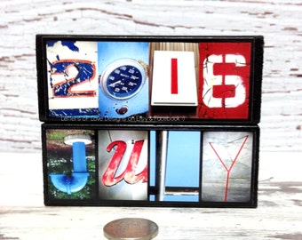 JULY Wood Photo Letter Calendar Sign - Summer Picture, Swimming, 4th of Independence Day American Flag USA Red White & and Blue Kitchen Art