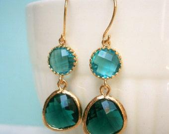Teal Earrings, Emerald Earrings, Gold Earrings, Best Friend, Sister, Mother, Daughter, Wife Gift, Spruce