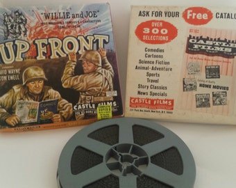 "Vintage Super 8 Military Soldier ComicStrip Movie ""Willie & Joe: Up Front"" Castle Films #1024 BW/Silent Collectible Retro Litho Graphics Box"