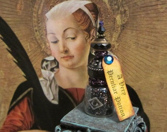 A Very Peculiar Potion dollhouse miniature, potion bottle, spooky, gothic, haunted in 1/12 scale