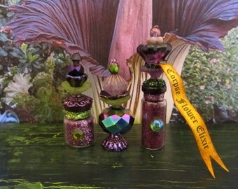 Corpse Flower Botanical trio of potions dollhouse miniaturein 1/12 scale