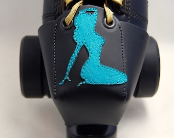 Leather Toe Guards with Turquoise Pin-Up Girls (OR Choose Your Own Color!)