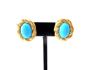 Oval Shaped Gold Tone Twisted Metal & Faux Turquoise Cabochon Unmarked Clip on Earrings