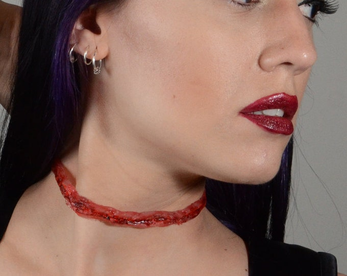 Halloween Horror  Necklace - Zombie  Jewelry - Slit Throat  - Zombie costume Necklace  - Macabre Bloody Cut-Throat 3