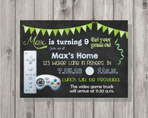 Digital Chalkboard Style Green Video Game Birthday Invitation Printable ANY Color Fonts
