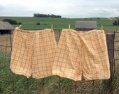 Antique 1920's Bloomer Shorts Knickers Pair two yellow plaid feed sack Material