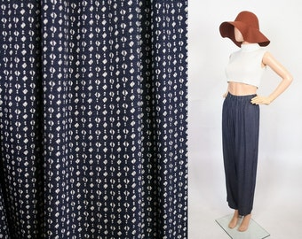 Vintage Trouser Pants / Graphic Print / Relax Fit / 90s Rayon Rompers / High Waist Harem / Boho / Navy Blue / Small / Medium