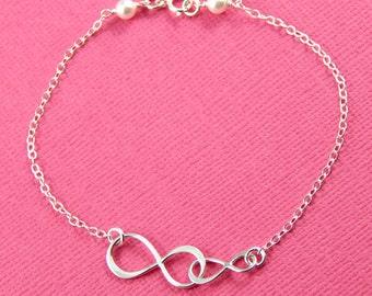 Sterling Silver Infinity Bracelet, Best Friends Bracelet, Mothers Bracelet, Sisters Bracelet, Double Infinity Bracelet