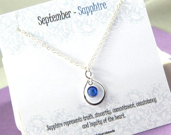 September Birthstone Necklace, Personalized infinity necklace, sapphire, birthstone jewelry, gift boxed necklace