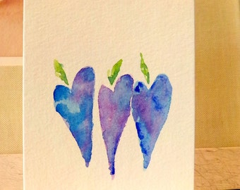 "Blue Moon Hearts YUM Watercolor Original Cards 3 1/2"" x 4 7/8""  With  Envelope  Blank Inside betrueoriginals"