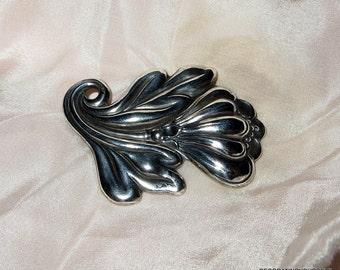 """Sterling Silver Flower Brooch Mid Century 2 1/2"""" Tall"""