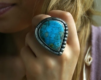 RESERVED - Water's Soothing Paradise - Chrysocolla Sterling Silver Ring
