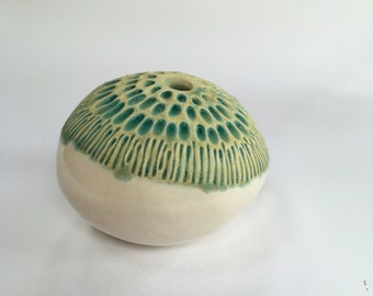 Turquoise and White Sea Pod Vase for One Flower Ceramic Vessel 3