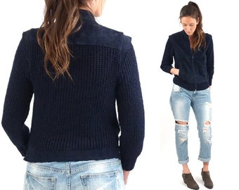 vintage 70s NAVY blue SUEDE leather zip up SWEATER S-M