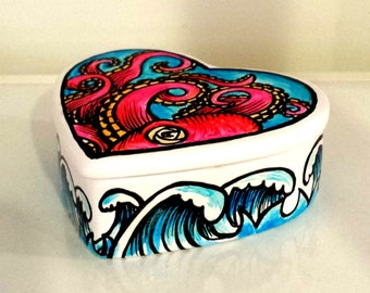 Octopus Box Hand Painted Ceramic Nautical Heart Ocean Waves Beach Sea Creature Pink Turquoise White Home Decor - READY TO SHIP