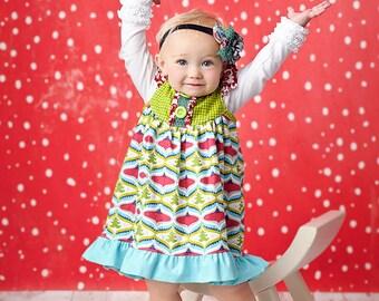 RTS- SALE- Girl's Christmas Dress- Holly Jolly Jubilee Dress- by Mellon Monkeys