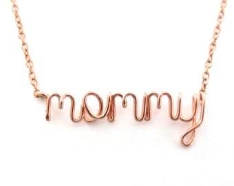 Rose Gold Mommy Necklace. New Mom Necklace. Mom nickname Necklace in 14k rose gold fill. Custom Mothers Day Name Necklace.