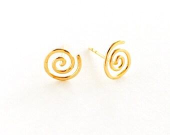 14k Gold Fill Spiral Swirl Studs. Aziza Jewelry