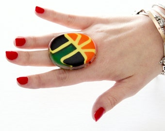 Glass Jewelry Cocktail Ring - bold ring, handmade ring, adjustable ring, statement ring, cocktail ring, tribal ring