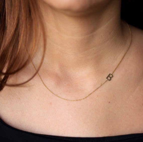 Tiny Sideways Initial Necklace Gold Initial Necklace