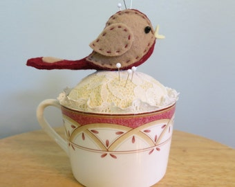 Teacup Pin Cushion With a Little Bird Pin Cushion On Top, Repurposed Teacup Pin Cushion  TCPC15