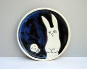 Rabbit Plate, Small, Black and White Plate with Bunny and Skully in Love, Salad Plate or Luncheon Plate, Home Decor, Animal Art Pottery