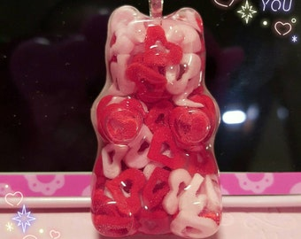 Pink/red candy hearts gummy bear necklace or keychain