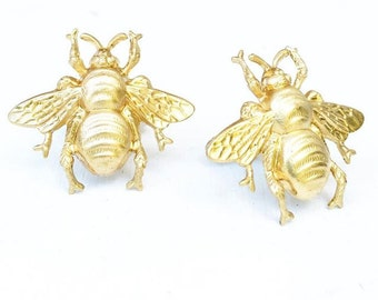 Bee Cuff Links,Gold Bee Cuff Links,Honeybee Cufflinks,Insect Cufflinks,Men's Gift,Steampunk Cufflinks,Forest Woodland Wedding,Bumblebee