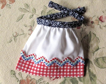 Barbie Apron Handmade in Red White Blue with Floral Rick Rack Trim and Red Polka Dot Sash - Barbie Kitchen Accessory