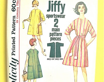 Uncut Simplicity 5498  Misses' One-Piece Jiffy Dress or Top Simple to Sew 1960s Sportswear Vintage Sewing Pattern Bust 34 to 36 inches