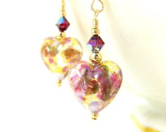 Small Heart Earrings, Purple Pink Gold White Murano Glass Earrings, Valentine's Earrings, Valentine's Day Jewelry Romantic Earrings Under 25