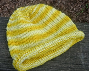 Newborn/Baby Hat--0 to 12 months--Shades of Yellow--Wool Mohair Blend--Plant Dyed