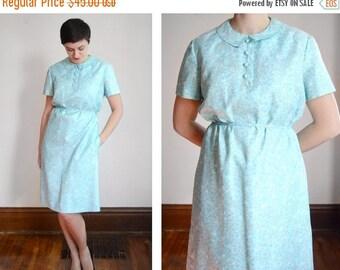 SUMMER SALE 1960s McMullen Blue Floral Dress - M/L