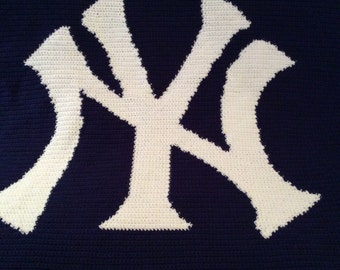 New York Yankees afghan Blanket throw  ~~~~ Great for any New York fan ~~~~