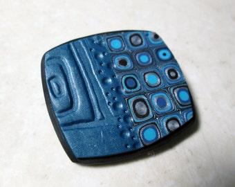 Polymer Clay Brooch Pendant, Blue Brooch, Blue Pendant, Gustav Klimt Cane Pendant, Brooch, Handmade Pendant, Jewelry, Polymer Clay Brooch