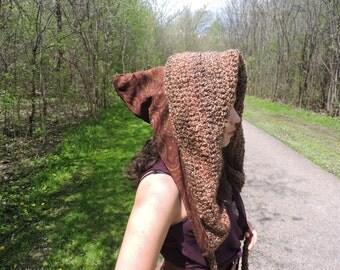 Elven goodess crochet reversible hood