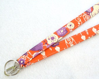 Tina Givens Fabric Lanyard Breakaway Designer ID Badge Holder Clip Key Ring Fob Orange Purple Zazu Floral MTO