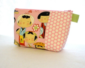Yui Kokeshi Fabric Large Cosmetic Bag Zipper Pouch Padded Makeup Bag Zip Pouch Alexander Henry Cute Japanese Dolls Pink Polka Dots