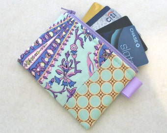 Amy Butler Fabric Business Card Case Coin Purse Zippered Credit Card Case Womens Card Holder Wallet Cypress Paisley Aqua Mint Lavender
