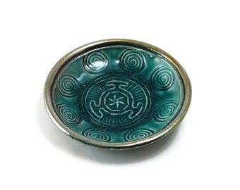 Hecate  Spiral Offering Bowl Handmade Raku Pottery